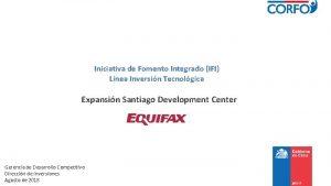 Iniciativa de Fomento Integrado IFI Lnea Inversin Tecnolgica