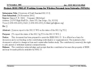 16 November 2001 doc IEEE 802 15 01490