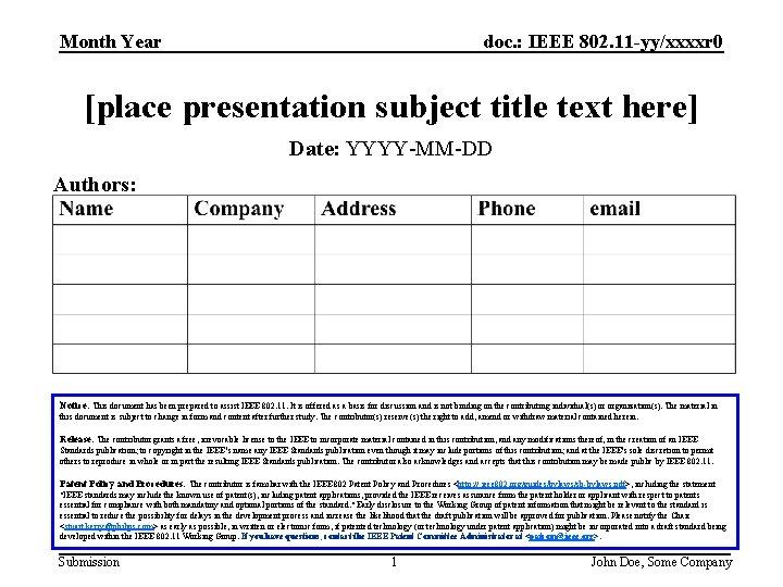 doc IEEE 802 11 yyxxxxr 0 Month Year