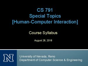 CS 791 Special Topics HumanComputer Interaction Course Syllabus