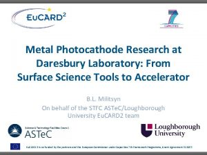 Metal Photocathode Research at Daresbury Laboratory From Surface