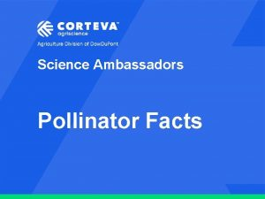 Science Ambassadors Pollinator Facts Agriculture Division of Dow