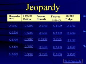 Jeopardy Reasons for War Famous Battles Famous Generals