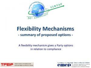 Flexibility Mechanisms summary of proposed options A flexibility