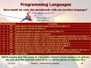 Programming Languages How would we code this pseudocode
