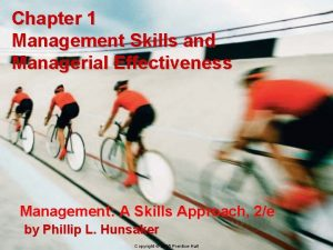 Chapter 1 Management Skills and Managerial Effectiveness Management