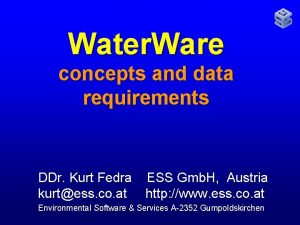Water Ware concepts and data requirements DDr Kurt