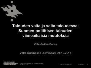 Talouden valta ja valta taloudessa Suomen poliittisen talouden