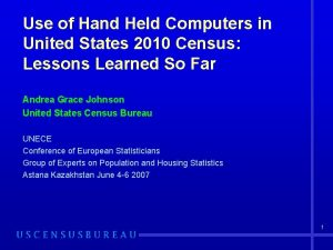 Use of Hand Held Computers in United States