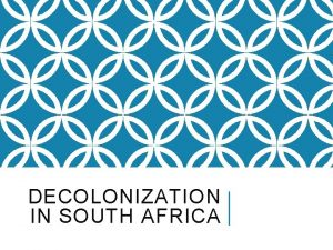 DECOLONIZATION IN SOUTH AFRICA EUROPEAN SETTLEMENT IN SOUTH