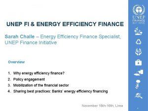 UNEP FI ENERGY EFFICIENCY FINANCE Sarah Challe Energy