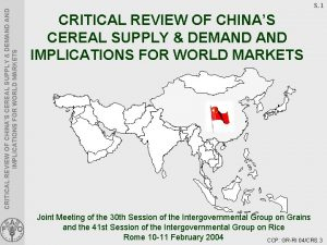 CRITICAL REVIEW OF CHINAS CEREAL SUPPLY DEMAND IMPLICATIONS