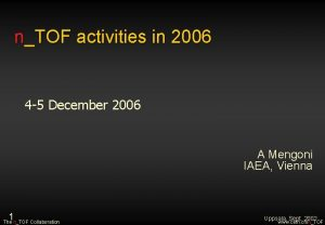 nTOF activities in 2006 4 5 December 2006