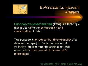 6 Principal Component Analysis Principal component analysis PCA