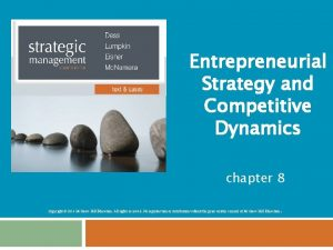 Entrepreneurial Strategy and Competitive Dynamics chapter 8 Copyright