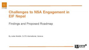 Challenges to NSA Engagement in EIF Nepal Findings