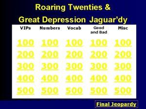 Roaring Twenties Great Depression Jaguardy VIPs Numbers Vocab