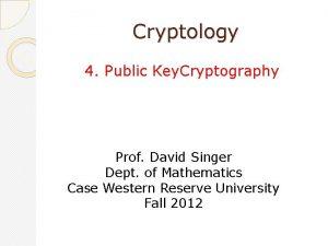 Cryptology 4 Public Key Cryptography Prof David Singer