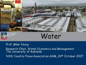 Water Prof Mike Young Research Chair Water Economics