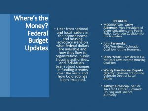 Wheres the Money Federal Budget Updates Hear from