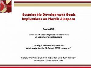 Sustainable Development Goals Implications on Nordic diaspora Sonia