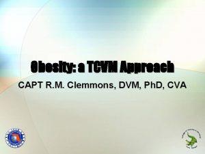Obesity a TCVM Approach CAPT R M Clemmons