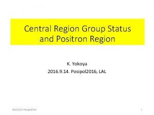 Central Region Group Status and Positron Region K