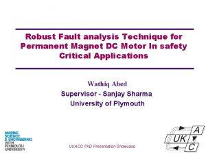 Robust Fault analysis Technique for Permanent Magnet DC