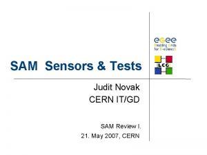 SAM Sensors Tests Judit Novak CERN ITGD SAM