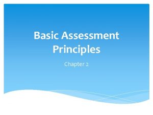 Basic Assessment Principles Chapter 2 Measurement Scales Nominal