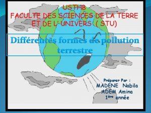 USTHB FACULTE DES SCIENCES DE LA TERRE ET