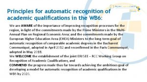 Principles for automatic recognition of academic qualifications in