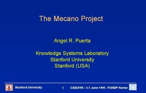 The Mecano Project Angel R Puerta Knowledge Systems