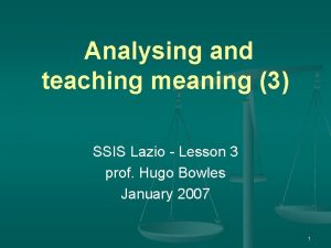 Analysing and teaching meaning 3 SSIS Lazio Lesson