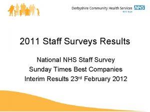 2011 Staff Surveys Results National NHS Staff Survey