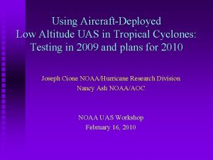 Using AircraftDeployed Low Altitude UAS in Tropical Cyclones