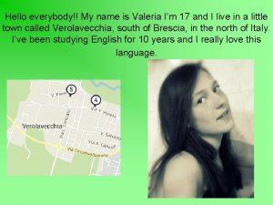 Hello everybody My name is Valeria Im 17