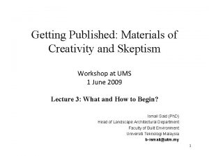 Getting Published Materials of Creativity and Skeptism Workshop