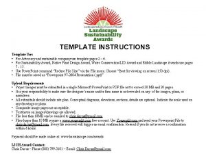 TEMPLATE INSTRUCTIONS Template Use For Advocacy and sustainable
