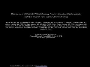 Management of Patients With Refractory Angina Canadian Cardiovascular