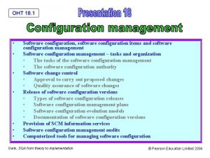OHT 18 1 Software configuration software configuration items