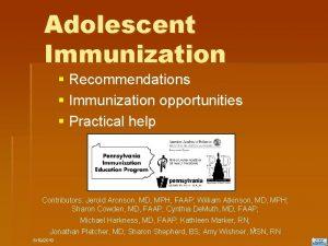 Adolescent Immunization Recommendations Immunization opportunities Practical help Contributors