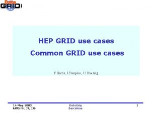 HEP GRID use cases Common GRID use cases