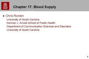Chapter 17 Blood Supply l Chris Rorden University