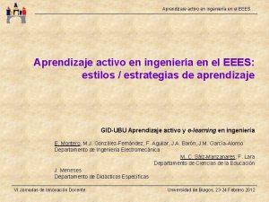 Aprendizaje activo en ingeniera en el EEES Aprendizaje