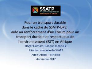 Pour un transport durable dans le cadre du