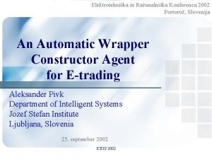 Elektrotehnika in Raunalnika Konferenca 2002 Portoro Slovenija An