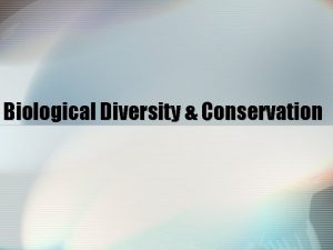 Biological Diversity Conservation Human Activities affect the biosphere