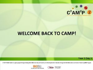 WELCOME BACK TO CAMP Year 2 Day 3