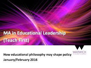 MA in Educational Leadership Teach First How educational